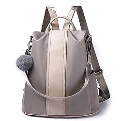 top 10 travel backpack purse 2 Women's Wallet Backpack Waterproof Nylon Anti-Theft Backpack Lightweight Shoulder Bag (Khaki)