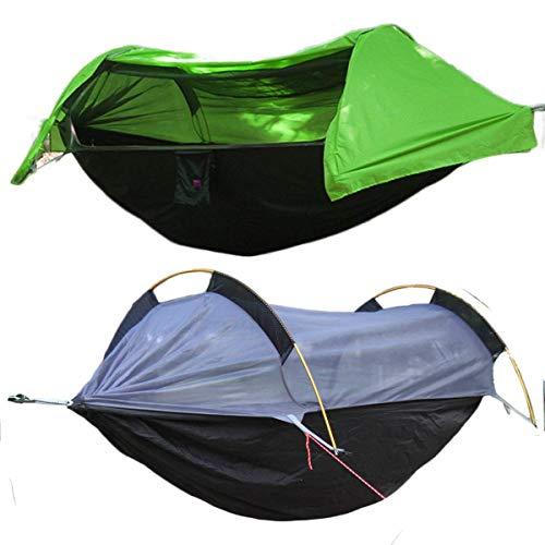 Camping Hammock,Camping Hammock with Mosquito net and Rain Fly,Camping Hammock Tent,Waterproof Hammock Lightweight Portable Hammock Tent Parachute Nylon Hammock for Outdoor Backpacking Hiking(Green)