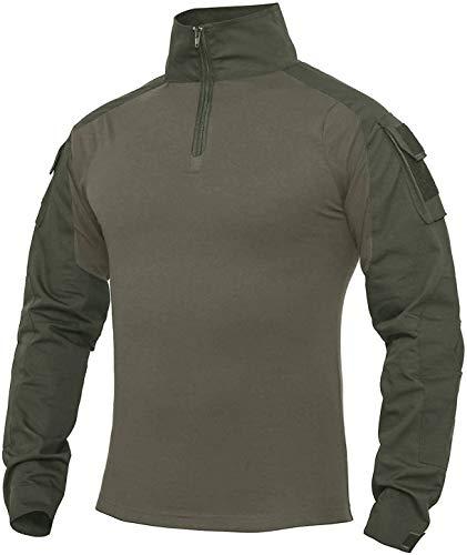 XKTTAC Hombres Militar Camisa Manga Larga Camuflaje Camo Camisetas Combat (Verde, M)