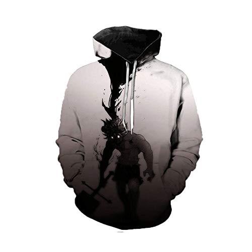Anime Black Clover Hooded Disfraz, Sudaderas Otoño e Invierno Jersey de Manga Larga para Hombre Warm-Up Top Jumpers Sweater Unisex