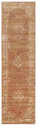 Safavieh Vintage Inspirierter Teppich, VTG112, Gewebter Weiche Viskose-Faser Läufer, Hellbraun / Elfenbein, 62 x 240 cm