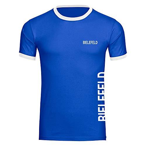 Multifanshop Herren T-Shirt Bielefeld seitlich - Schriftzug auf der Brust und auf der Seite - blau/weiß - Größe S bis 5XL - Fußball Fanartikel Fanshop,Farbe:blau/weiß,Größe:XXXL