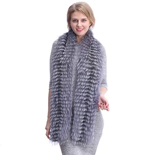 URSFUR Damen Winter fuchsfell schal mit Kaschmirfutter,Stilvoller Luxus flauschig weich langer fuchsfell schal - Silberfuchs