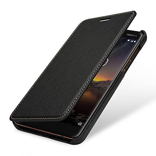 StilGut Book Type Lederhülle kompatibel mit Nokia 6.1, seitlich klappbares Flip-Hülle aus Echtleder, schwarz