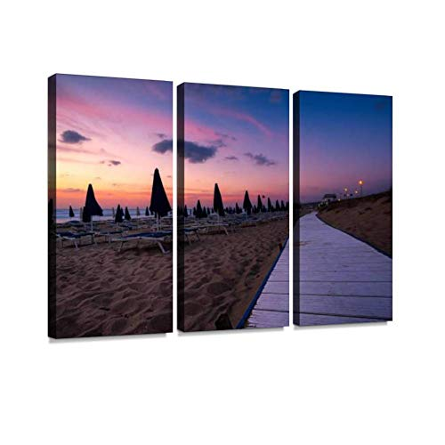 HABEN ARTWORK badesi Beach at Sunset Sardinia Sardegna Italy Eternal Print On Canvas Wall Artwork Modern Photography Home Decor Unique Pattern Stretched and Framed 3 Piece