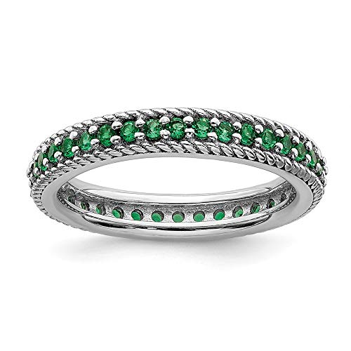 925 Sterling Silver Created Green Emerald Eternity Band Ring Size 7.00 Stackable Gemstone Birthstone May Fine Jewelry For Women Gifts For Her