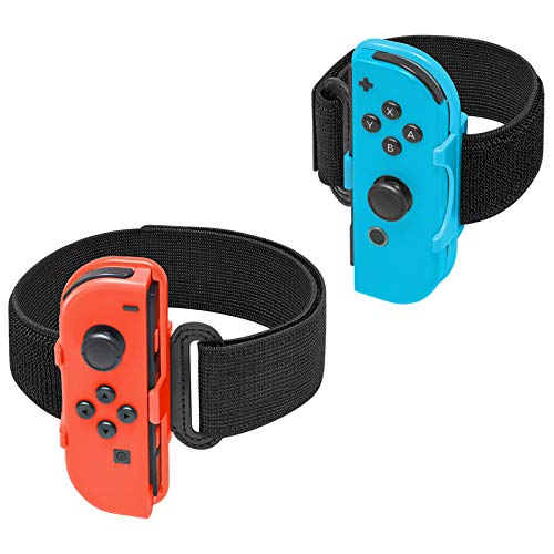Adjustable Elastic Wrist Bands and Leg Fixing Strap for Nintendo Switch Joy Cons Controller for Just Dance 2021/2020/2019/2018 and Ring Fit Adventure