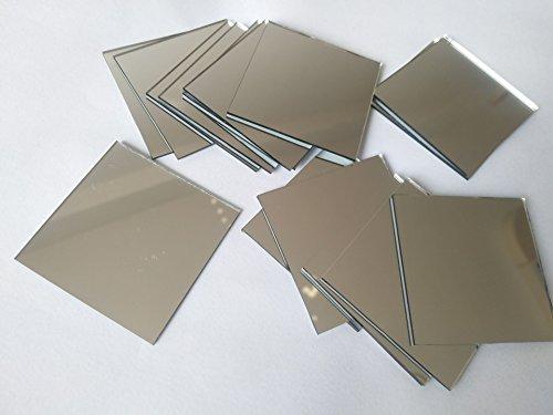30 Piezas De Vidrio Cuadrado Espejo Mosaico Azulejos Cuadrados Artesanía Espejos DIY Accesorio (2 Pulgadas)