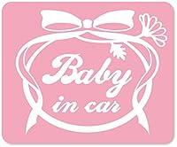 imoninn BABY in car ステッカー 【マグネットタイプ】 No.29 お花リボン (ピンク色)