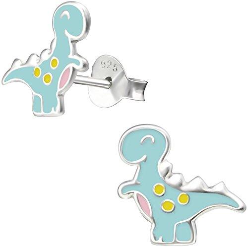 JAYARE Ohrringe Mädchen Dino 925 Sterling Silber 11 mm Kinder Ohrstecker Kinderohrstecker Mädchenohrringe