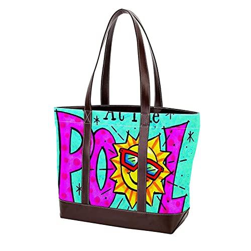 para madres, mujeres, niñas, señoras, estudiantes, bolso de mano, la vida es mejor en la piscina, bolsos de hombro, ligero, bolso con correa, bolsos de compras