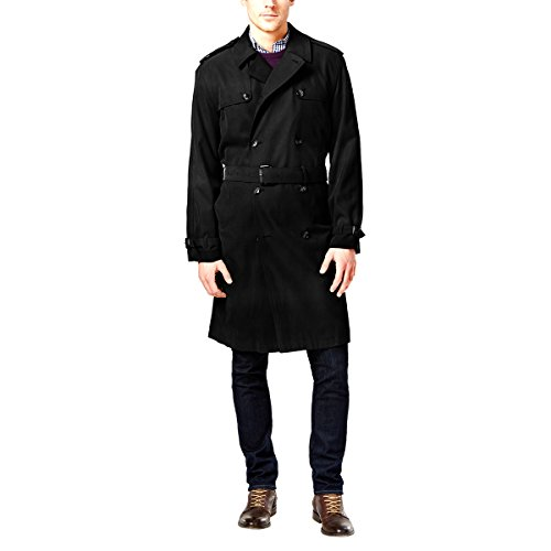 London Fog Men's Plymouth Twill Belted Double-Breasted Iconic Trench Coat, Black, 40 Regular