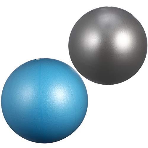 ABOOFAN 2 bolas de yoga esmeriladas engrosadas antiexplosiones de fitness, mini bola de equilibrio para ejercicio de gimnasia o gimnasio (15-35 cm, tamaño aleatorio plateado+azul cielo)