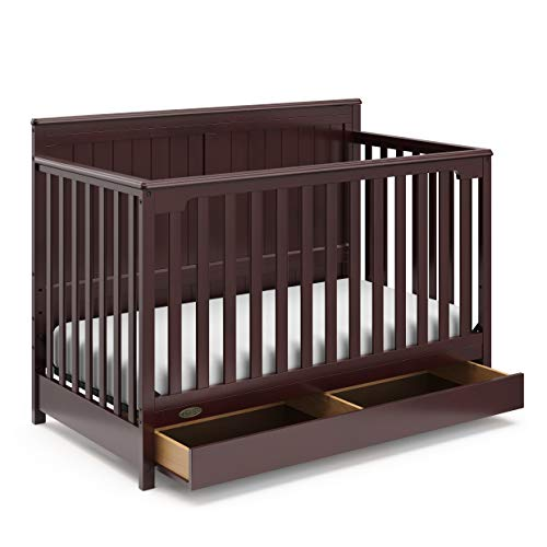Graco Hadley 4-in-1 Convertible Crib with Drawer (Espresso) - Converts to Daybed, Toddler Bed, and Full-Size Bed, Adjustable Mattress Height, Undercrib Storage, Coordinates with Any Nursery