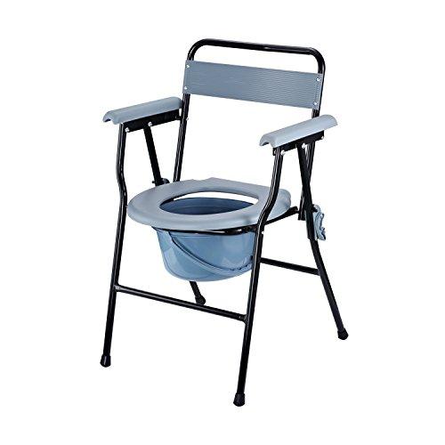 HOMCOM Sedia WC Pieghevole con Vaso Rimovibile per Anziani e Disabili in Tubi di Ferro e Plastica 52 x 50 x 75cm