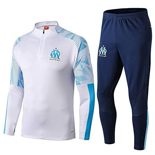 LZMX Fußball-Trainingsanzug Marseille Mannschaftswettbewerb Sport 2-teiligen Zipper Sport Männer Fußball langärmelige Runde Krawatten (Size : M)