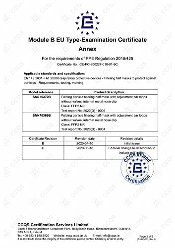 40 Stück – denkturm® FFP2 Maske, Atemschutzmaske, CE Zertifikat CE2834, geprüft EN149:2001+A1:2009 FFP2 NR - 4