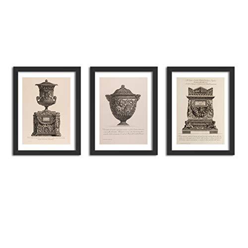 Kit 3 Quadros Decorativos Com Moldura Vasos Giovanni Piranesi