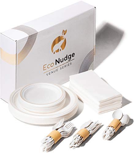 Eco Nudge Disposable Dining Set- Disposable white/gold biodegradable dining set. Eco friendly dinnerware for parties, holidays, weddings or other events. Plates, cutlery, and napkins serves 25 guests.