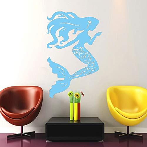 Calcomanías de pared de serie de conchas marinas náuticas, decoración para el hogar, sirena bonita con calcomanías de pared de silueta de arte de cabello largo para niñas color-1-3 43x69cm