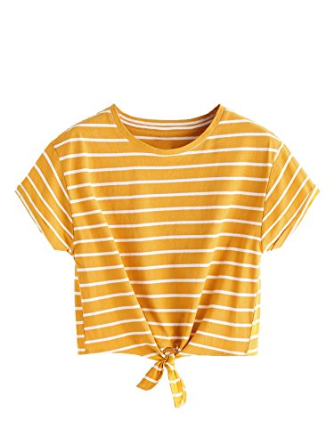 ROMWE Women's Knot Front Long Sleeve Striped Crop Top Tee T-shirt, Yellow & White, Large / US 8-10