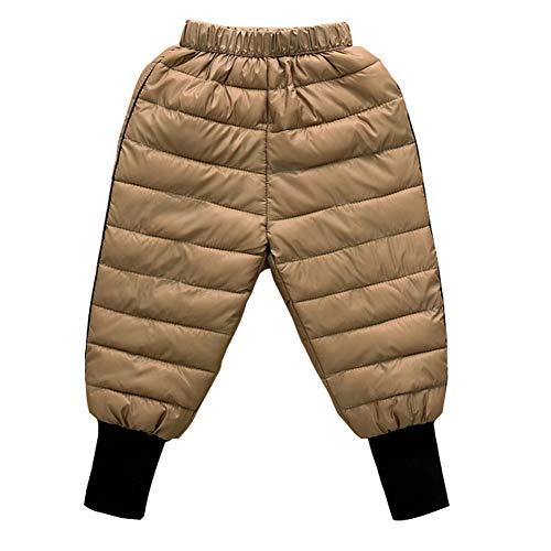 Happy Cherry Baby Dicke Warm Schneehose mit elastischem Bund Winddicht Gefütterte Sporthose Winter Kinder Hose Leichte Daunen Hose Khaki - Größe 100