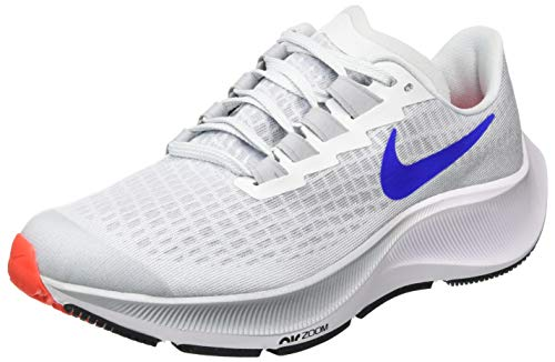 Nike Air Zoom Pegasus 37 (GS), Scarpe da Corsa, Pure Platinum/Racer Blue-Wolf Grey-Bright Crimson, 38.5 EU
