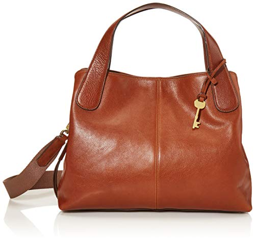Fossil Women's Maya Leather Satchel Handbag, Brown