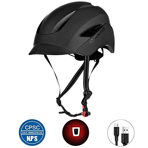 Adult Bicycle Helmet Classic Urban Commuter Bike Helmet Hat Tongue Design Rechargeable USB Safety Light CPSC Certified Road Cycling Helmet Adjustable Size for Men and Women (Matte Black)
