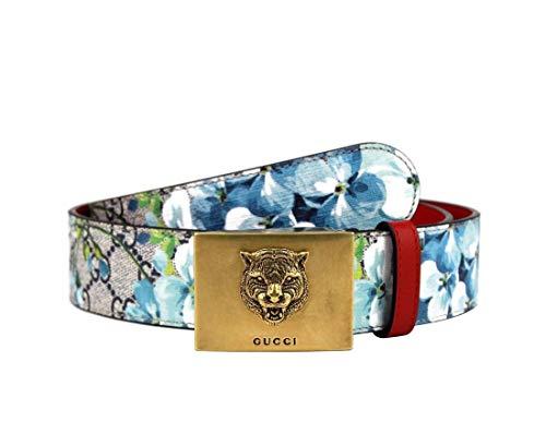 Gucci 546384 8492 - Cinturón unisex con estampado de flor azul con hebilla de tigre dorado