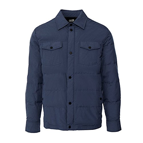 32 DEGREES Men's Packable Down Shirt Jacket -Dark Denim-XXL