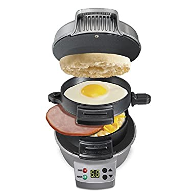 Hamilton Beach 25478 Breakfast Sandwich Maker with Timer, Silver