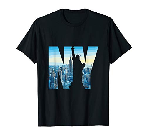 New York City Druck NYC Freiheitsstatue Skyline T-Shirt