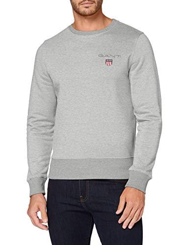 GANT Herren D1. MEDIUM Shield C-Neck Sweat Pullover, Light Grey Melange, S
