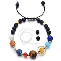 This bracelet is handmade from natural stones, which contains eight different colors of stones, corresponding to the eight planets in solar system. Unique Design:This is the coolest bracelet for people who likes astronomy! The beads represent the eig...