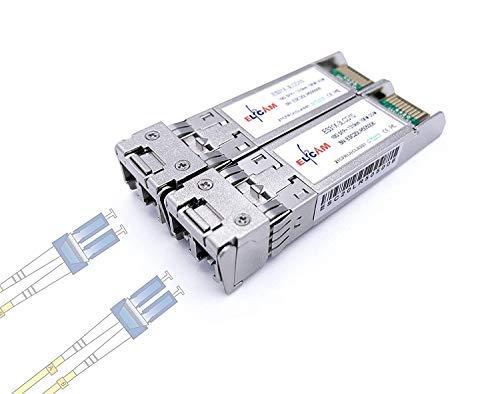 Elfcam - 2 Piezas 10G SFP+ Modulo, Conector Fibra Óptica LC/UPC Duplex Monomode 9/125µm (OS2), 10Gbase-LR: 1310nm DDM 20KM