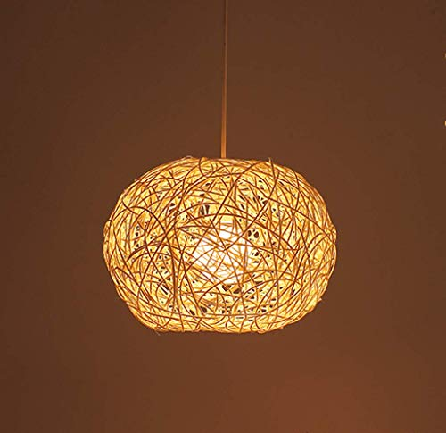Rattan Pendelleuchten Lampenschirm LED Garten Kreative Ball Hängeleuchte E27 Hängende Linie Höhenverstellbarer Kronleuchter Wohnzimmer Café Schlafzimmer Restaurant Hotel Gang Bar Decken,Beige,20CM