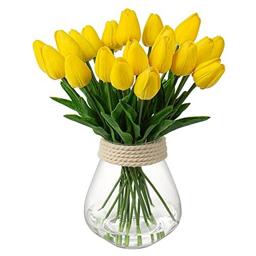 10 cabezas de tulipanes artificiales flores falso tallos de flor de toque real tulipán arreglo de flores ramo de tulipanes para el hogar, fiesta, decoración de boda