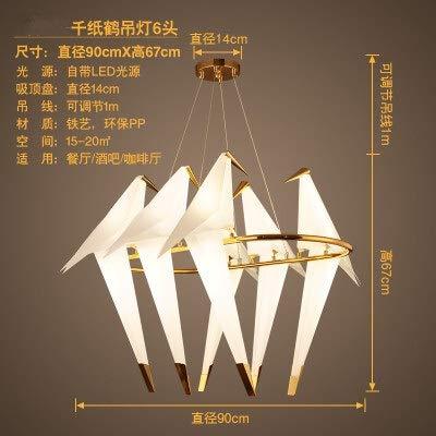 BINGFANG-W Araña de papel de pájaro for cocina comedor sala de estar origami papel de metal lámpara colgante lustre Avele moderno salón araña Moderno (Emitting Color : Cold white)
