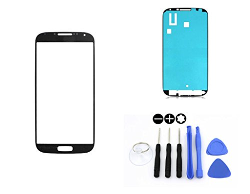 R.P.L. FRONTGLAS SET passend für SAMSUNG Galaxy S4 Schwarz Black i9500 i9505 i9506 i9515 / Frontglas / Glas / Displayglas / LCD Reparatur / LCD Display / Klebefolie / Glass Replacement / 8 - Teiliges Werkzeugset TOOLS