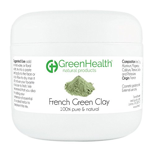 French Green Clay Powder, 3 oz - 100% Pure & Natural by GreenHealth
