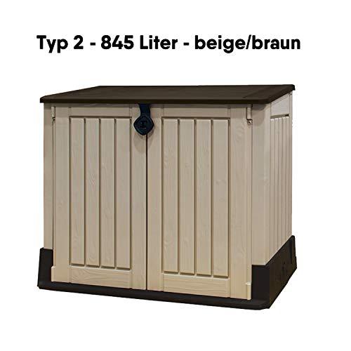 Koll Living Garden Mülltonnenboxen von 848- bis 2020 Liter wählbar - aus Wetter- & UV-festem Kunststoff - mit Gasdruckfedern und Belüftungsystem (Typ 2-845 Liter - beige/braun)
