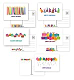 50 Happy Birthday Postcards - Full Color Both Sides - 5 Fun Birthday Designs - 4' x 6' Postcards - Made In USA