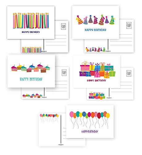 """50 Happy Birthday Postcards - Full Color Both Sides - 5 Fun Birthday Designs - 4"""" x 6"""" Postcards - Made In USA"""