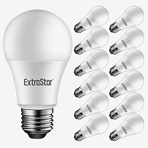 EXTRASTAR Bombilla LED E27 9W(equivalente a 72W), Blanco Cálido 3000K, 720lm, Ángulo 220°, No Regulable, 12 Unidades
