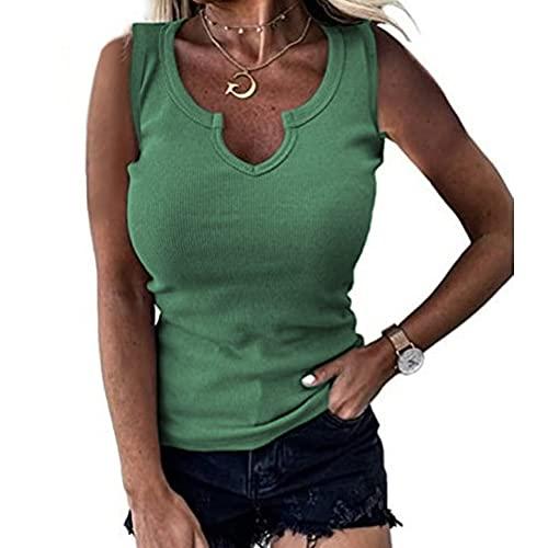 Camiseta Sin Mangas Mujer Sexy con Cuello En V Color Sólido Clásico Todo-Fósforo Sin Mangas Top Verano Playa Vacaciones Ocio Suelto Y Cómodo Mujer Tops Mujer Blusa A-Green L