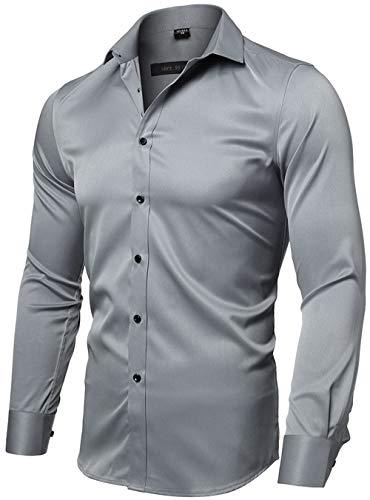 INFLATION Herren Hemd Aus Bambusfaser umweltfreudlich Elastisch Slim Fit für Freizeit Business Hochzeit Reine Farbe Hemd Langarm Herren-Hemd, Gr.L (Etikette 42), Grau