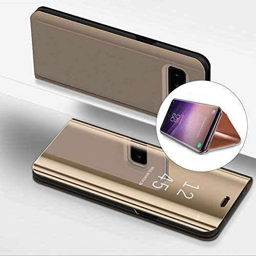 LCHDA Samsung Galaxy S8 Spiegel Ledertasche Hülle klapphülle Gold Brieftasche Schutzhülle Handyhülle Durchsichtig Clear View Flip Mirror Case Stoßdämpfend Standfunktion Magnetverschluß Handytasche
