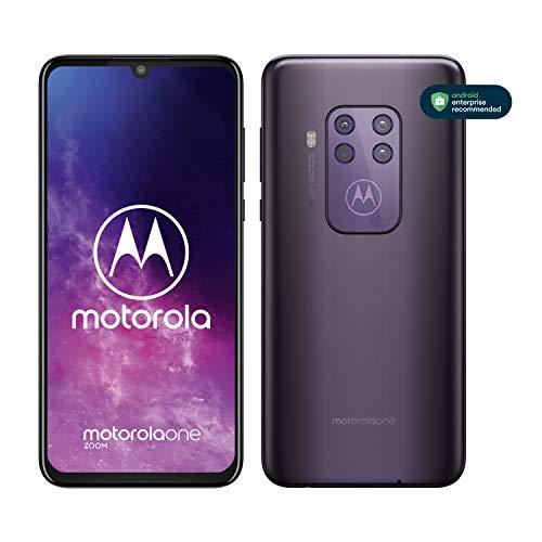 "Motorola One Zoom, Quad Camera 48MP, 128GB, Amazon Alexa Hands-Free, Batteria 4000 mAh TurboCharge, Display OLED MaxVision 6.4"" FHD+, Dual Sim, Android 9 Pie - Cosmic Purple"