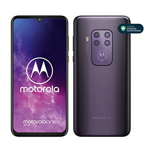 "Motorola One Zoom, Quad Camera 48MP, 128GB, Amazon Alexa Hands-Free, Batteria 4000 mAh TurboCharge, Display OLED MaxVision 6.4"" FHD+, Dual Sim, Android 9 Pie - Cosmic Purple"
